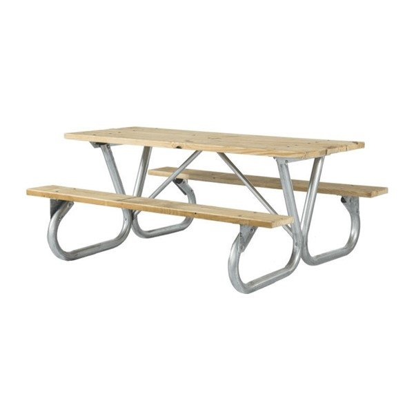 6 Ft. Wooden Picnic Table with Heavy Duty Bolted Galvanized Steel Frame