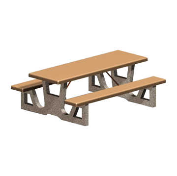 Picture of 7 Foot Rectangular Concrete Picnic Table with 2 Attached Seats