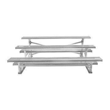 7.5 ft. 3 Row Tip and Roll Aluminum Bleacher without Guardrails and Double Footboards