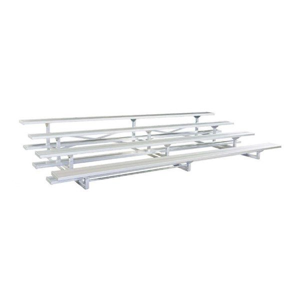 7.5 ft. 4 Row Portable Aluminum Bleacher without Guardrails and Double Footboards