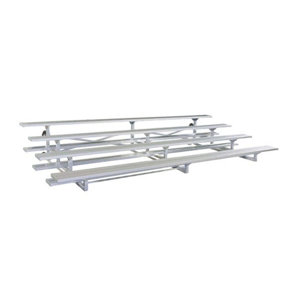 7.5 ft. 4 Row Tip and Roll Aluminum Bleacher without Guardrails and Double Footboards