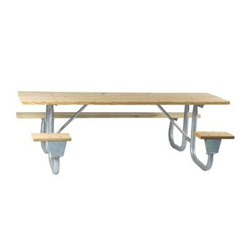 8 Foot ADA Portable Rectangular Wooden Picnic Table with Galvanized Steel Frame