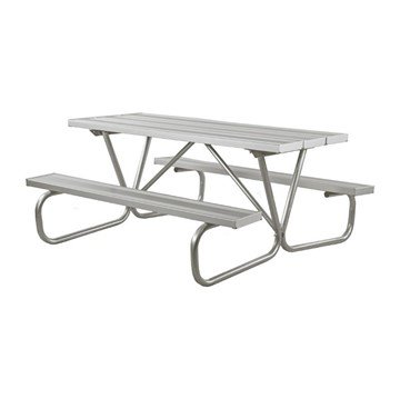 "8 Ft. Aluminum Picnic Table with Bolted 1 5/8"" O.D. Tube Steel Frame"