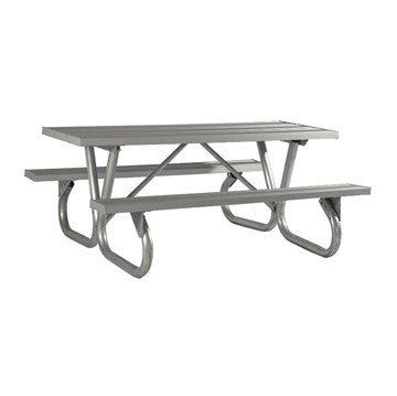 "8 Ft. Aluminum Picnic Table with Heavy Duty Bolted 2 3/8"" O.D. Tube Steel Frame"