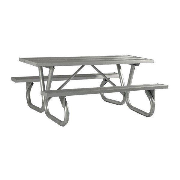 """8 Ft. Aluminum Picnic Table with Heavy Duty Bolted 2 3/8"""" O.D. Tube Steel Frame"""