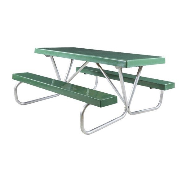 """8 Ft. Fiberglass Picnic Table with Bolted 1 5/8"""" O.D. Tube Steel Frame"""