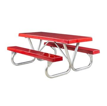 """8 Ft. Fiberglass Picnic Table with Heavy Duty Bolted 2 3/8"""" O.D. Tube Steel Frame"""
