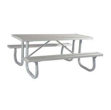 8 Ft. Heavy Duty Aluminum Picnic Table with Welded Galvanized Steel Frame