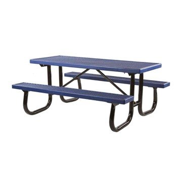 8 Ft. Quick Ship Plastisol Coated Expanded Metal Picnic Table