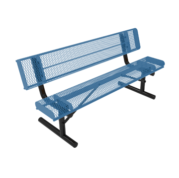 Elite Series 6 Ft. Thermoplastic Polyethylene Coated Rolled Bench with Back - 119 lbs. - Quick ship