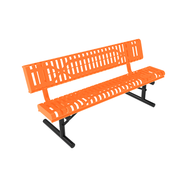 RHINO Slatted Rolled Bench with Back, 4 Ft. 6 Ft.