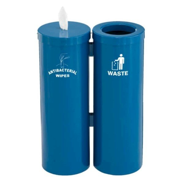 Sanitizing Wipes Dispenser with Attached Trash Receptacle