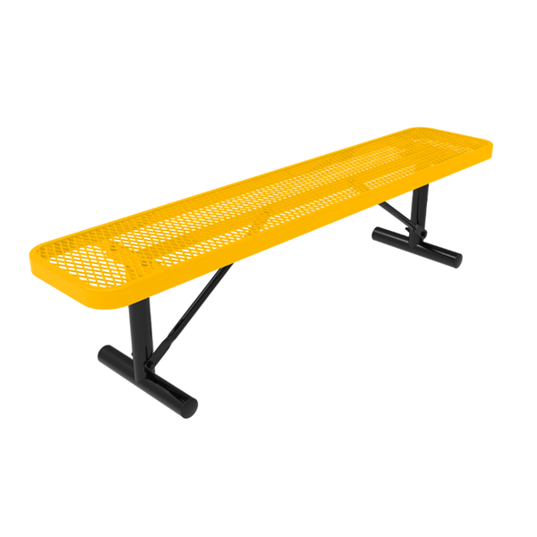 Elite Series 6 Ft. Thermoplastic Polyethylene Coated Backless Players Bench - 63 lbs. - Quick ship