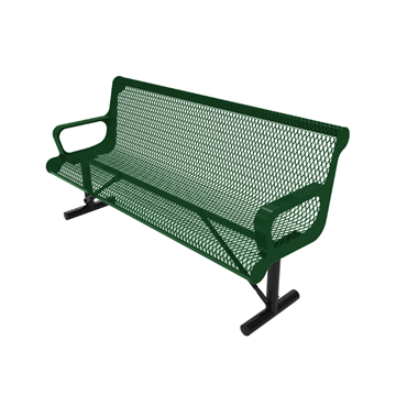 Elite Series 6 ft. Thermoplastic Polyethylene Coated Contour Bench with Back - 148 lbs. - Quick Ship