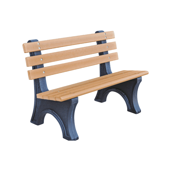 4 Ft. Recycled Plastic Park Garden Bench with Back