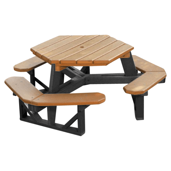 Heavy Duty Recycled Plastic Hexagonal Picnic Table with 3 Attached Benches and Umbrella Hole