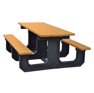 "6 Ft. Recycled Plastic ""Walk Thru"" Style Picnic Table"