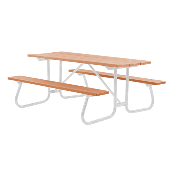 8 Ft. Recycled Plastic Picnic Table with Welded Steel Frame - 298 Lbs.