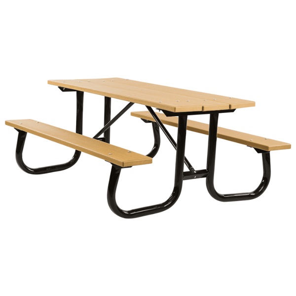 "6 Ft. Heavy Duty Recycled Plastic Picnic Table with 2 3/8"" Welded Galvanized Frame"