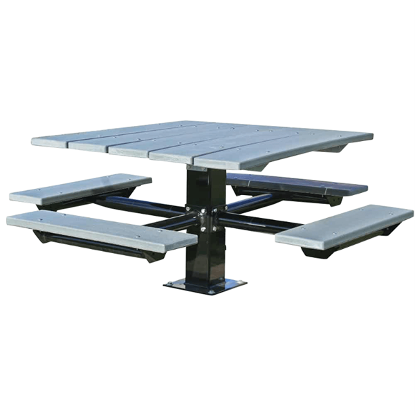 "48"" Square Recycled Plastic Picnic Table with 6"" Square Pedestal Steel Frame"