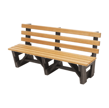 6 Foot Slatted Recycled Plastic Boardwalk Style Bench with Back, 212 lbs.