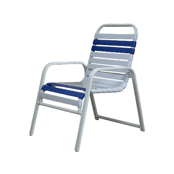 Destin Vinyl Strap Wide Arm Commercial Chair Powder-Coated Aluminum Stackable