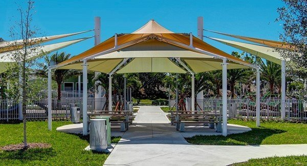 Multi-Level Custom Sail Shade Structure With Powder Coated Steel Frame