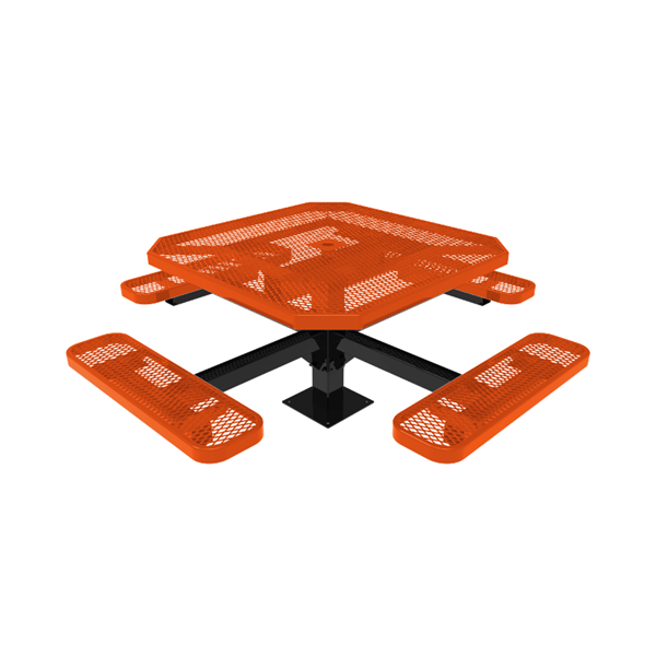 """RHINO 46"""" Octagon Thermoplastic Polyolefin Coated Pedastal Picnic Table - Quick Ship"""