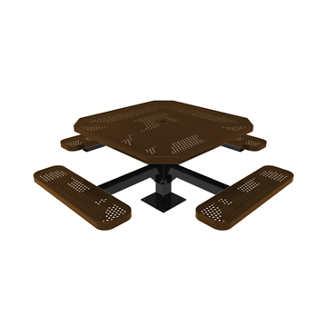 """Elite Series 46"""" Octagon Thermoplastic Polyethylene Coated Pedestal Picnic Table - Quick Ship - 317 lbs."""
