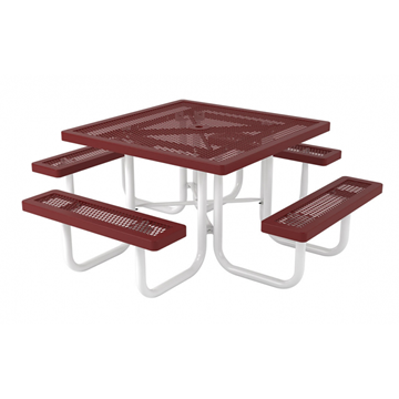 "46"" Regal Square Polyethylene Coated Metal Picnic Table"