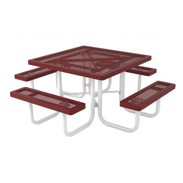 "46"" Regal Square Polyethylene Coated Metal Picnic Table"