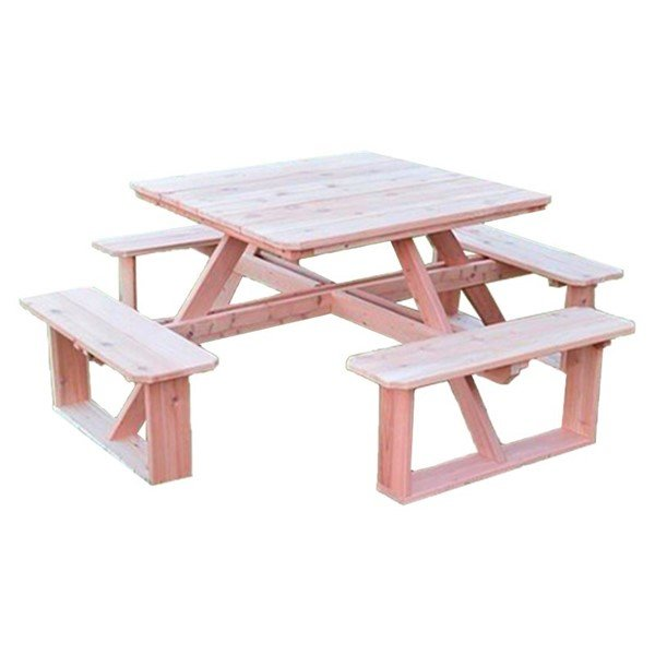 """44"""" Square Walk-In Wooden Picnic Table"""