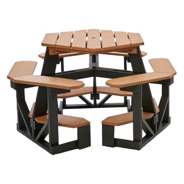 Heavy Duty Hexagonal Recycled Plastic Bar Height Picnic Table With Umbrella Hole - Seats 6