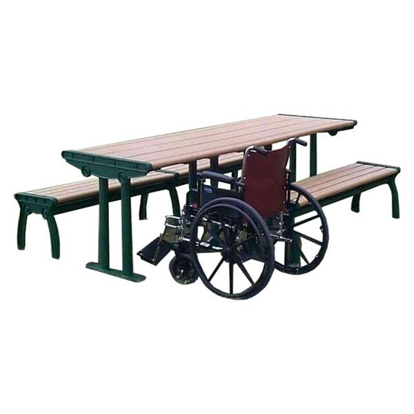 ADA Complaint Park Ave Recycled Plastic Picnic Table With Cast Aluminum Frame