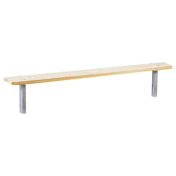 Stationary Wooden Backless Sport Bench with Galvanized Steel Frame - 6 or 8 ft.