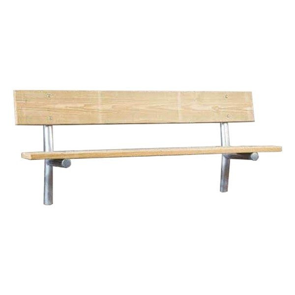 Stationary Wooden Park Bench with Galvanized Steel Frame - 6 or 8 ft.