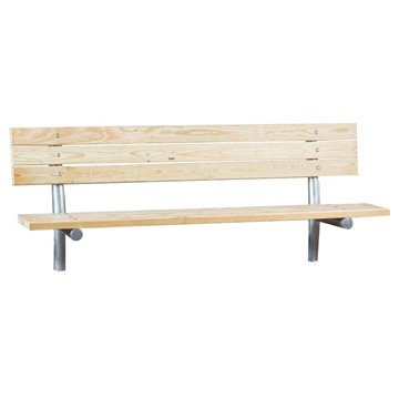 Stationary Wooden Slat Bench with Galvanized Steel Frame