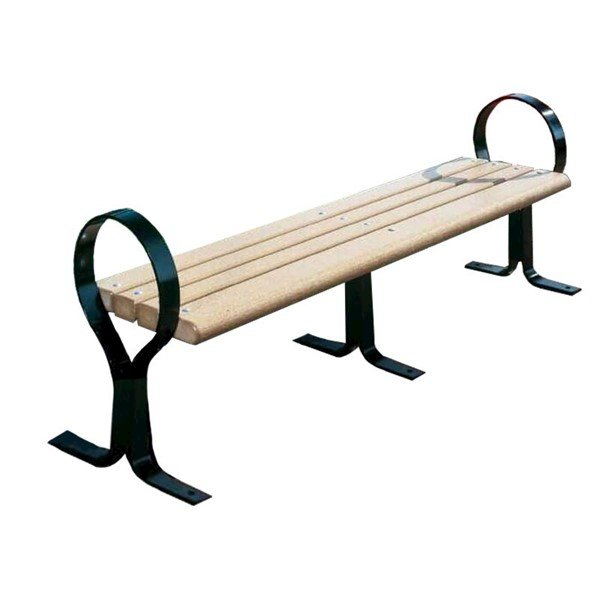 Hoop Recycled Plastic Flat Backless Bench With Steel Frame