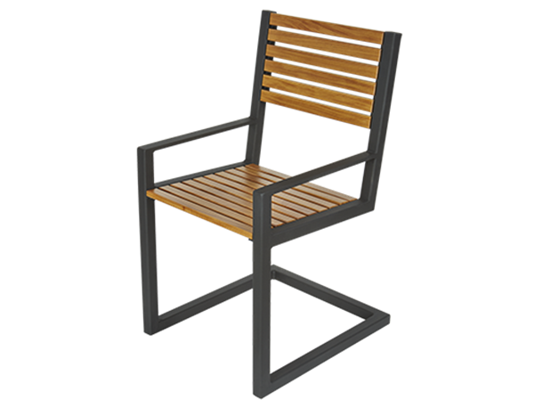 Wooden Plank Dining Chair with Powder-Coated Aluminum Frame - 37 lbs.