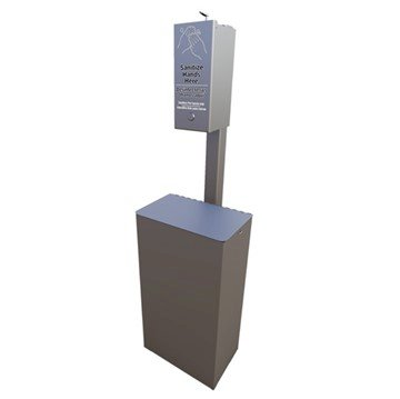 Post Mounted Manual Dispenser Sanitation Station with 10-Gallon Trash Receptacle
