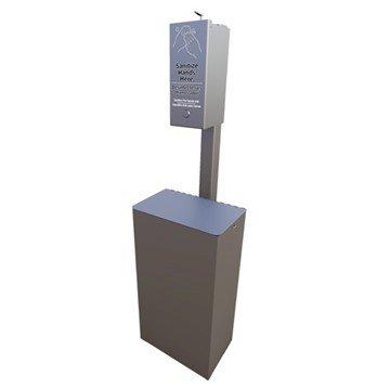 Post Mounted Manual Dispenser Sanitation Station with 10-Gallon Trash Receptacle