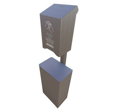 Post Mounted Automatic Dispenser Sanitation Station with 10-Gallon Trash Receptacle