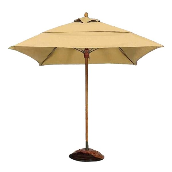 Commercial Umbrellas Augusta Style 7.5 Foot Square Diameter Market Umbrella. One Piece Simulated Wood Pole. Marine Grade Fabric Top.