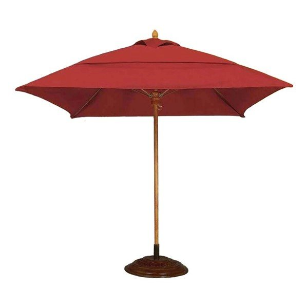 Commercial Market Style Umbrella 7.5 Foot Square Diameter Bridgewater Style Market Umbrella. One Piece Simulated Wood Pole. Marine Grade Fabric.