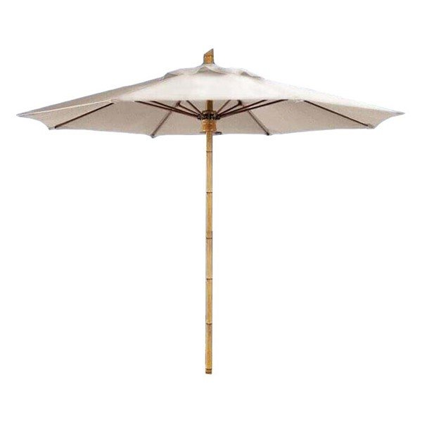 8 Ft. Bambusa Octagonal Fiberglass Ribbed Market Umbrella With One Piece Aluminum Simulated Bamboo Pole And Marine Grade Fabric