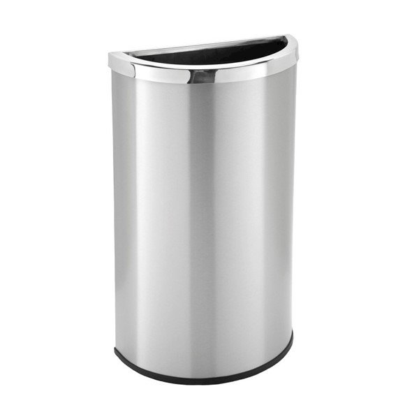8 Gallon Precision Half Moon Stainless Steel Trash Receptacle - 11 lbs.