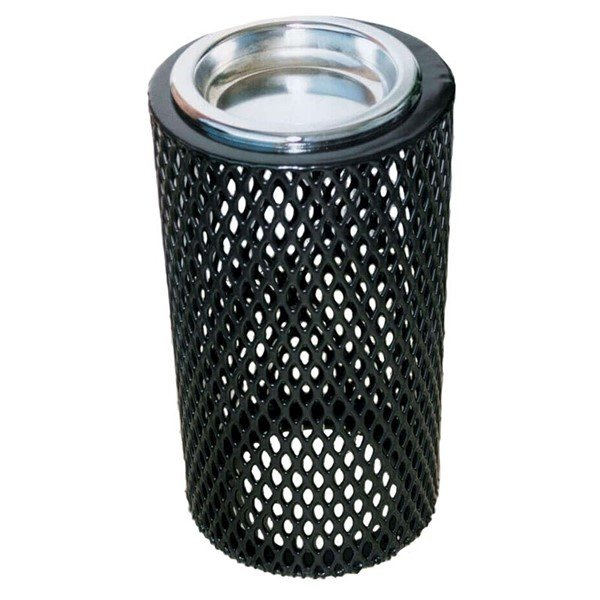 "11"" Round Plastic Coated Expanded Steel Ash Urn"