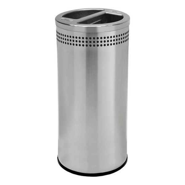 20 Gallon Precision Stainless Steel Round Recycle Receptacle With Two Separated Open Top