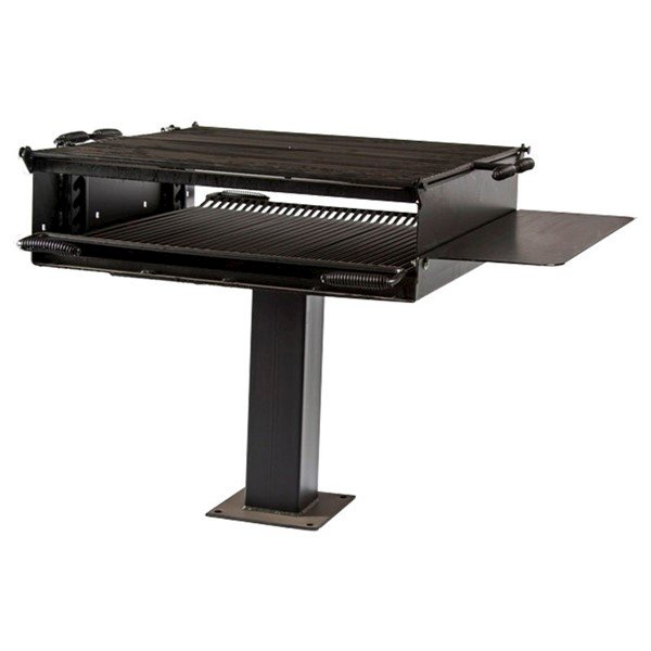 """1368 Square Inch Cooking Surface Large Steel Group Grill With 6"""" Square Pedestal Frame And 4 Position Fire Grate"""