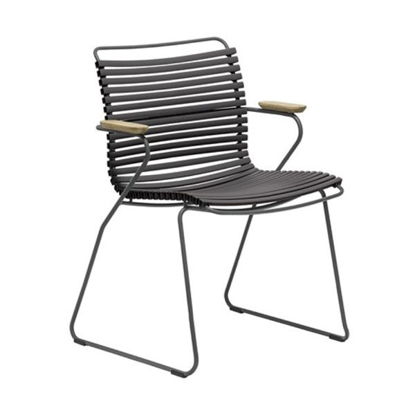 Ledge Lounger Playnk Dining Chair with Powder-Coated Steel Frame and Bamboo Armrests - 18 lbs.
